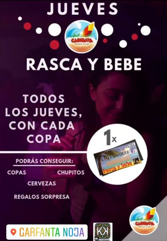 Cartel del 'Rasca y bebe' de la discoteca Garfanta